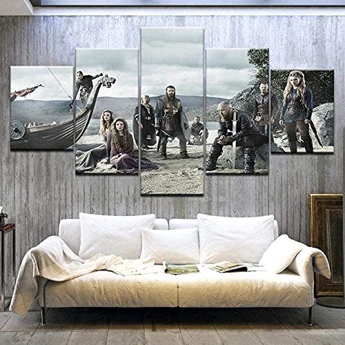 TYJT Cuadro En Lienzo, Imagen Impresión, Pintura Decoración, Cuadro Moderno En Lienzo 5 Piezas XXL,Murales Pared Hogar Decor-Póster Serie De TV Vikingos 200 * 100Cm