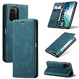 KONEE Hülle Kompatibel mit Xiaomi Mi 11i 5G / Poco F3, Lederhülle PU Leder Flip Tasche Klappbar Handyhülle mit [Kartenfächer] [Ständer Funktion], Cover Schutzhülle für Mi 11i 5G / Poco F3 - Blaugrün