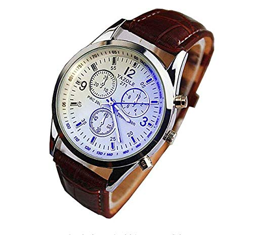Aeljinh - Reloj analógico de Cuarzo para Hombre, Resistente al Agua, multifunción, Negro, Esfera Azul, Y32V25FJ09U, Cinturón marrón con Superficie Blanca