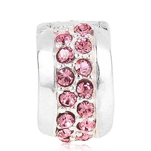 Abalorio de plata de ley 925 con diamantes de imitación, para pulsera Pandora (rosa)