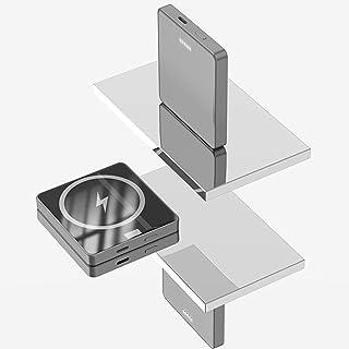 Svart teknik anpassad batterikärna magnetisk trådlös laddning power bank 10000mAh mobil kraft PD bakladdare,Gray,10000