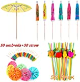 100 Pieces Cocktail Decoration Party Set,for Cocktail Tropical Drinks Beach Birthday Wedding Celebration Party (50 Pieces Umbrellas+50 Pieces Drinking Straw)