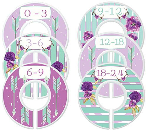 Mumsy Goose Nursery Closet Dividers, Closet Organizers,Baby Girl Clothes Sizers Lavender Mint Green Boho Baby