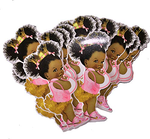 Pink Gold Princess Party Cut-Outs, African American Princess for Royal Baby Shower