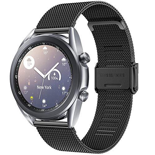 Vecann Correa para Galaxy Watch 3 41mm, 20mm Correa De Acero Inoxidable Tejida Correa De Repuesto De Metal para Galaxy Watch 42mm /Active 40mm /Active 2 40mm 44mm /Gear Sport /Gear S2 Classic