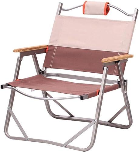 Klappstuhl Freizeit Armlehnen Tragbare Rückenlehne Mittagspause Outdoor Wandern Camping Strand Angeln Hocker 2 Farben MUMUJIN (Farbe   Khaki, Größe   56cm53cm62cm)