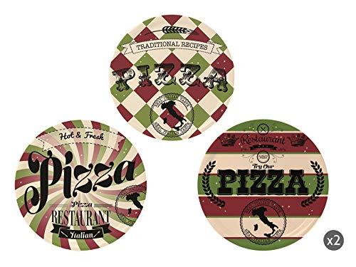 Excelsa Little Italy Set 6 Piatti Pizza, Porcellana, Multicolore