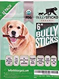 Bullysticks Organic Standard 6' Bully Sticks for Dogs - All Natural Dog Treat, These Chews are Free Range, Odorless Bully Sticks, USDA Approved (10 Pack)