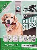 "Bullysticks Organic Standard Bully Stick Dog Treats – 6"" Sticks, All Natural Premium Beef, Odor Free, USDA Approved (10 Pack)"