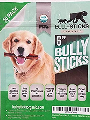 "Bullysticks Organic Standard Bully Stick Dog Treats – 6"" Sticks, All Natural Premium Beef, Odor Free, USDA Approved (10 Pack)"