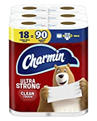 Pack contains 18 Rolls (341 sheets per roll) of Charmin Ultra Strong Toilet Paper 1 Charmin Family Mega Roll = 5+ Regular Rolls based on number of sheets in Charmin Regular Roll bath tissue Design inspired by washcloth-like cleaning Strong 2-ply toil...