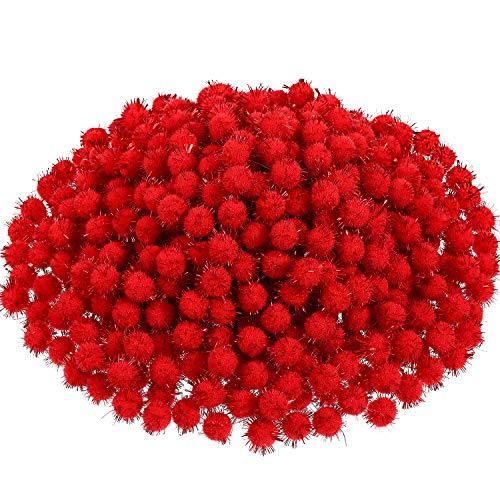 Boao 600 Pezzi Pom Pom di Natale Pom Pom Glitter Arte e Artigianato Fare Palle per Artigianato Natalizio Fare Rifornimenti della Festa (Rosso)