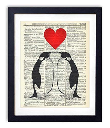 Penguin Love Upcycled Vintage Dictionary Art Print 8x10, unframed