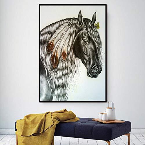 ganlanshu Leinwand Kunst Wanddekoration Heimtier Ölgemälde Wohnzimmer Dunkles Pferd Poster und Drucke,Rahmenlose Malerei,75x105cm
