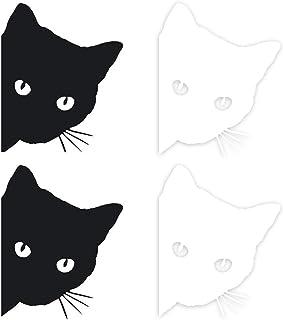 BESPORTBLE 4 peças de adesivos de gato espiando para acessórios de decoração exterior de automóveis (preto e branco) acess...