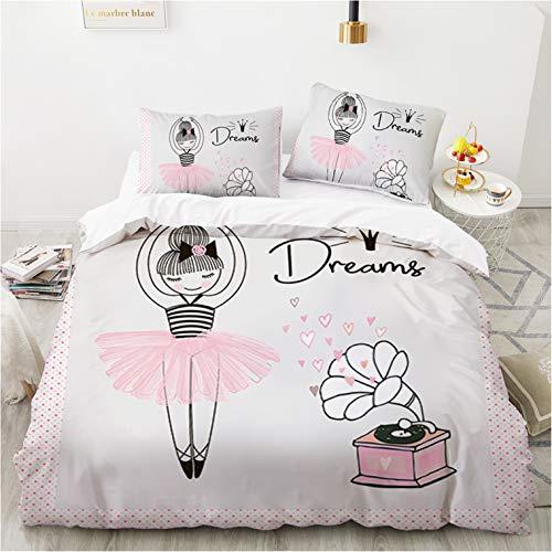 KOOYR - Funda nórdica estampada para niña, funda de edredón/funda de almohada rosa para niños, funda de edredón cómoda y suave de fibra de poliéster (135 x 200 cm)