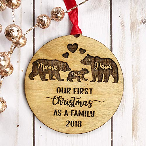 Mama Papa Baby Bear Christmas Ornament 2020 - Our First Christmas as a Family Rustic Wooden Wood Engraved Ornament