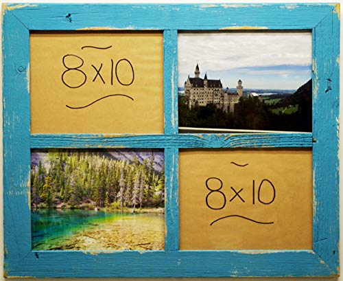 Window Pane Style Frame (4) 8 X 10 Pictures Rustic Reclaimed Barn Wood Multi Opening Frames 2 inch Wide Border Multiple Family Wedding Gallery Display Collage Farmhouse Decor Living Room Country Wall