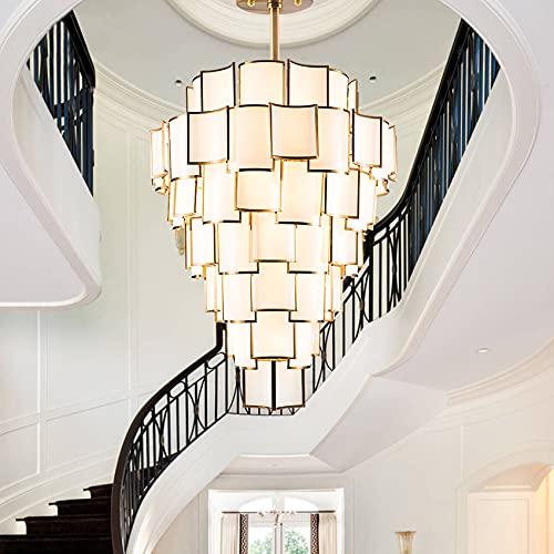 QTQZ Araña de Cristal de Cristal Escalera araña lámpara de Techo Retro Creativo Hierro Arte Seis Pisos luz del Pasillo D120cm Sala de Estar Escalera lámpara de Oro