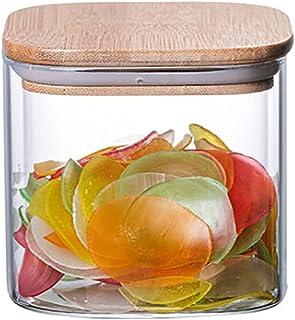 Annfly Bocaux de rangement en verre avec couvercles hermétiques en bambou pour la cuisine, le sucre, le thé, les grains de...
