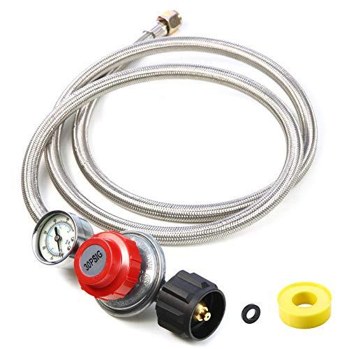 5Ft Adjustable Propane Regulator Hose Braided Steel 0~30 PSI Gas Flow Indicator for Fire Pit, Turkey Fryer, Burner, Cooker, Grill, Firepit etc-CSA Certification, QCC1 x 3/8 Female Flare Connection