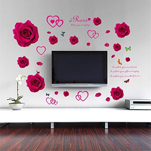 GVFTG Mooie Rode Rose Pleister Muursticker DIY Verwijderbare Vinyl Art Deco Muren voor Home Decoratie 50X70cm