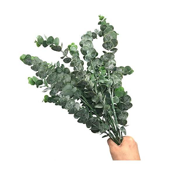 Aisamco Paquete de 3 Hojas de Eucalipto Spray con 5 Tallos Ramas de Plantas de Eucalipto Artificial Plantas de…