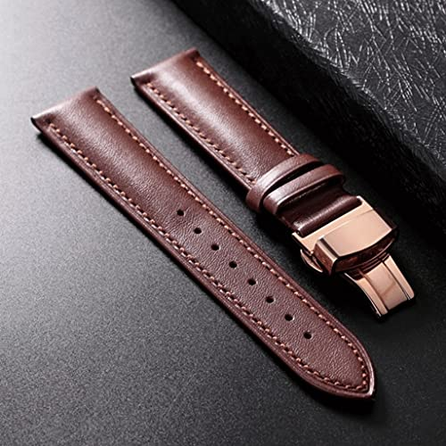YXBDN Calfskin Leather Watchband Soft Material Watch Band Wrist Strap 18mm 20mm 22mm 24mm with Stainless Steel Buckle (Color : Brown, Size : 22mm)