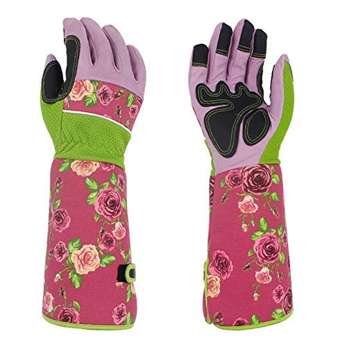 Long Gardening Gloves for Women, Pretty Thorn Proof Ladies Garden Gauntlet with 37CM Long Sleeves, Protect Your Arms Until The Elbow (Pink)