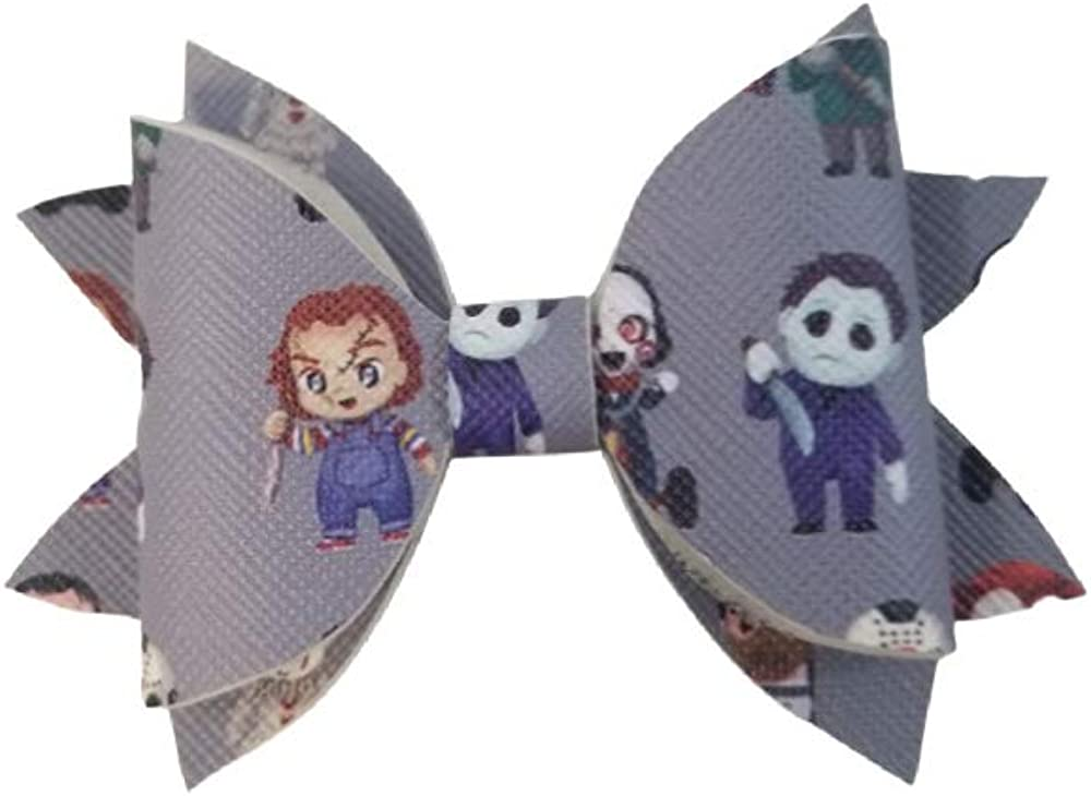 Grey horror friends faux leather bow on clip 3