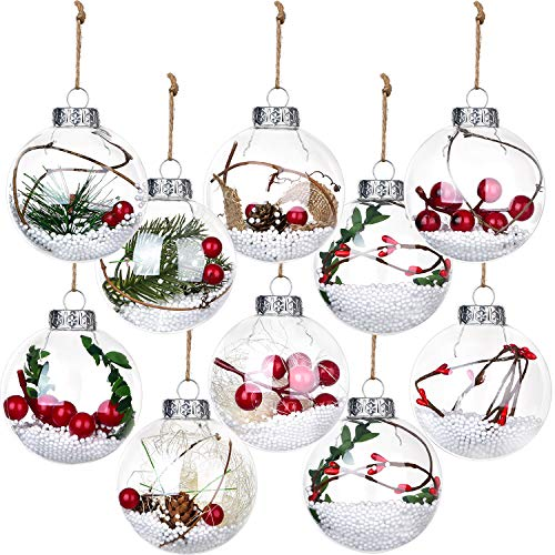 DearHouse 10 Pack Christmas Balls Ornaments, 3 inch Clear Fillable Christmas Tree Hanging Ornaments for Christmas and Wedding Party Decorations