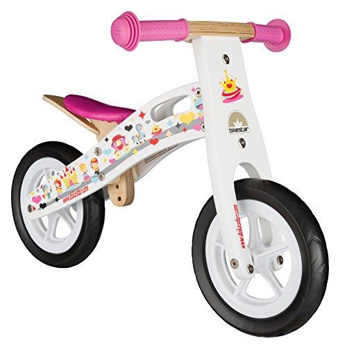 BIKESTAR Vélo Draisienne Enfants en Bois pour Garcons et Filles de 2 - 3 Ans | Vélo sans pédales évolutive 10 Pouces | Blanc Design Princesse