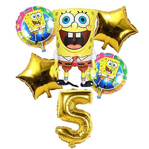 LIZHIOO 6 Unids Globos de Bob Esponja de Cumpleaños 3D Set Suministros de Fiesta Globos Decoración de Bebé Decoración de Fiesta Infantil Globos de Bob Esponja Helio (Color : 5)