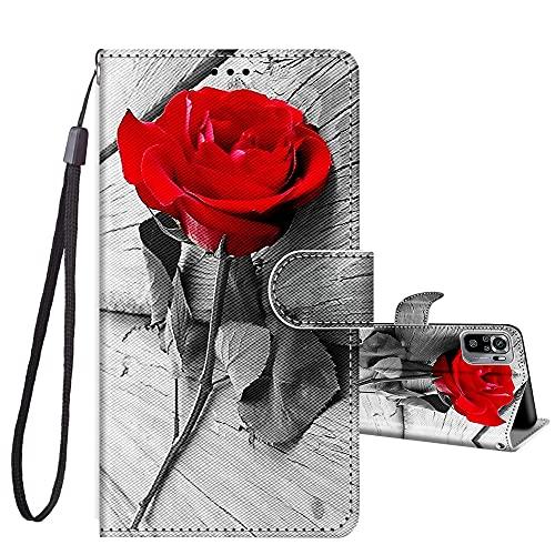 JRIANY Handyhülle für Xiaomi Redmi Note 10S Hülle PU Leder Hülle Brieftasche Flip Hülle Klappbare Stoßfeste Magnetische Lederhülle mit Muster Schutzhülle für Redmi Note 10 4G Lederhülle, Rose