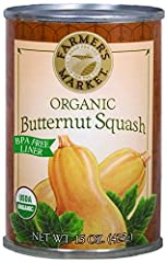 Enjoy the Farmer's Market recipe for rich and smooth organic butternut squash puree. Make homemade organic butternut squash soup or bisque any time of the year. Organic Butternut Squash is also great for pies, baking and sauces. Simply made with only...