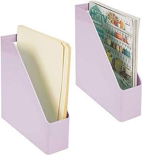 mDesign casier à Papier pour journaux, dossiers ou enveloppes (Lot de 2) – Rangement de Bureau en Plastique avec poignée –...