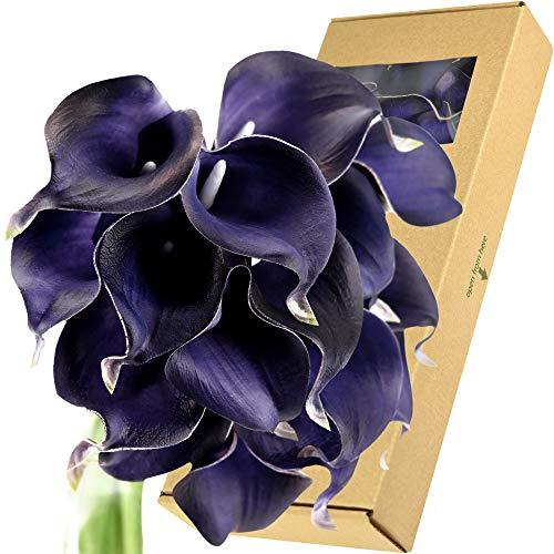 FiveSeasonStuff Künstliche Calla-Lilien mit echter Haptik, für Hochzeit, Brautstrauß, Heimdekoration, Party, Blumenarrangements, 15 Stiele Mystic Blue Violet