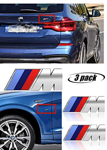 M Power Badge Tri Color Rear Emblem Fender Side Emblem Car Decal Logo Sticker Fit for M Performance Accessories-3pcs(silver)