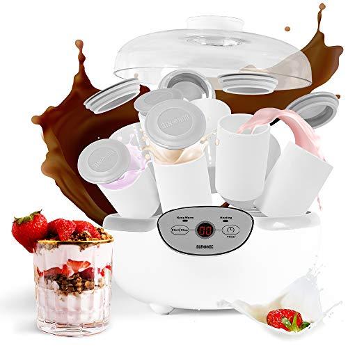Duronic YM2 Yogurtera con Temporizador 20 W con 8 Tarros para Yogurtera de 125 ml, Panel de Control, Autoapagado, Máquina para Elaboración de Yogur Natural, Yogur Casero y Postres Tapa Transparente