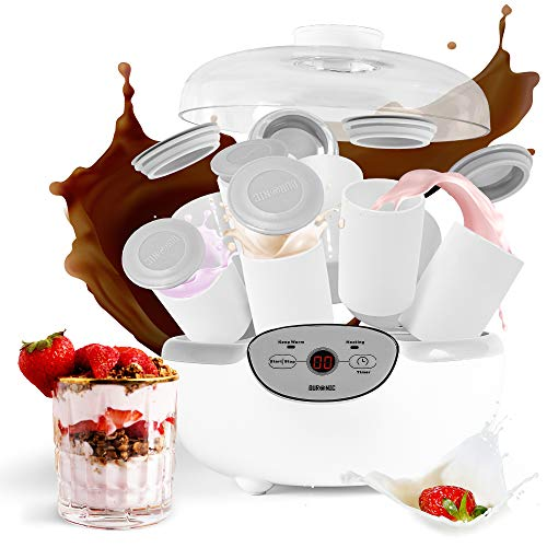 Duronic YM2 Yogurtiera elettrica automatica – 8 vasetti in ceramica da 125 ml - Macchina per yogurt con display digitale timer impostabile - Ideale per preparare yogurt fatti in casa