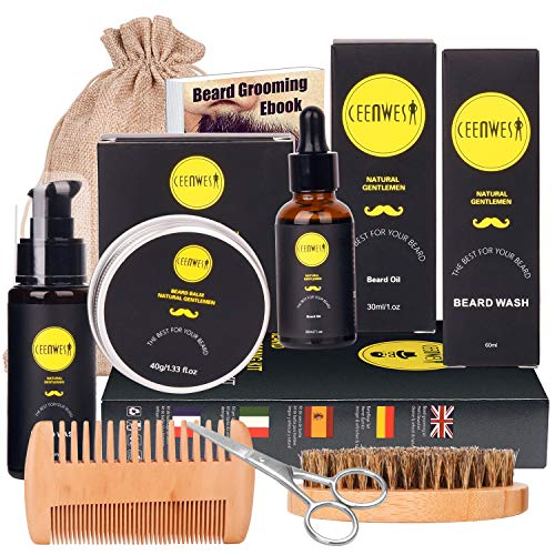 Ceenwes 10 in1 Beard Grooming Kit for Men Care with Beard Oil, Beard Brush, Beard Comb, Beard Balm,...