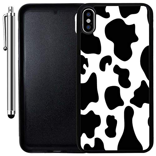 Custom Case Compatible with iPhone Xs MAX (6.5 inch) (Cow Print) Edge-to-Edge Rubber Black Cover Ultra Slim | Lightweight | Includes Stylus Pen by Innosub