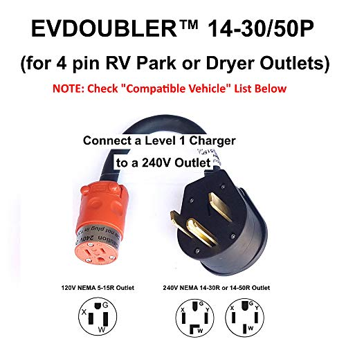 Fits Hyundai Ioniq Sonata Kona. The Amazing EVDOUBLER is a Low Cost Upgrade Adapter, Just Plug it in, Charges Fast Like a Level 2 Electric Vehicle Car EVSE Charger. Needs a NEMA 14-30/50 Outlet
