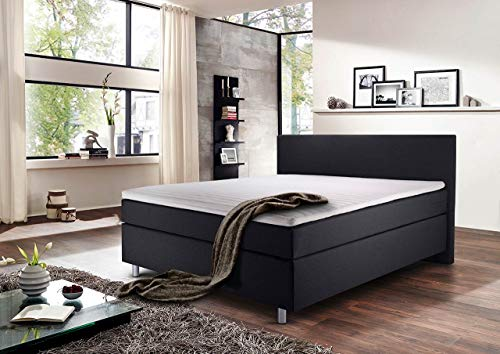 lifestyle4living Boxspringbett 140x200, grau, Stoff | Entspannter schlafen auf dem modernen Doppelbett komplett mit Kopfteil, inkl. Komfortschaum-Topper