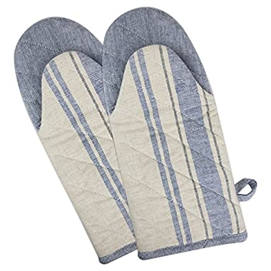 DII Cotton French Stripe Oven Mitt, 13x6  Set of 2, Machine Washable and Heat Resistant Country Farmhouse Cooking and Baking Glove-Nautical Blue
