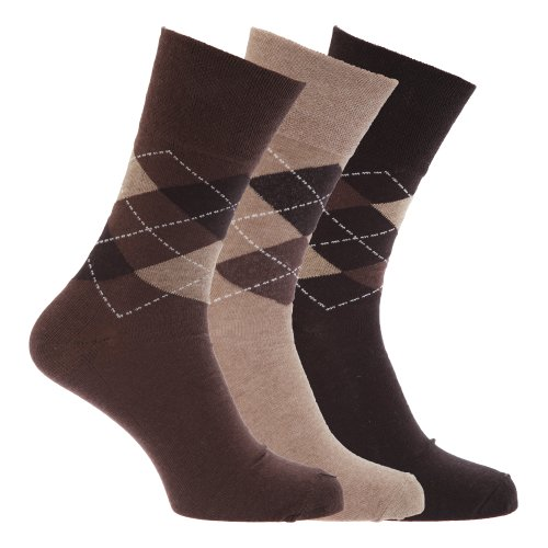 Textiles Universels Chaussettes (lot de 3 paires) - Homme (EUR 39-45) (Marron assortis)