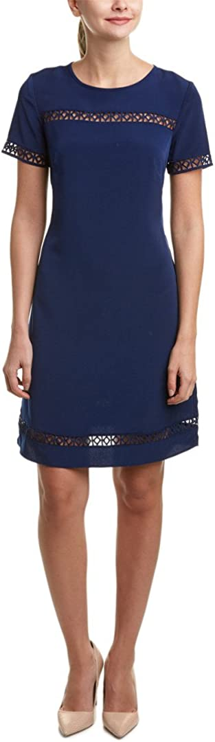 Donna Ricco Women's Short-Sleeve Solid Soho Crepe Shift Dress with Lace Detail