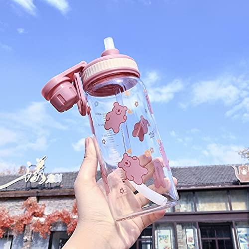 YYSD Botella de Agua Patrón de Oso Lindo con Escala Estudiante Deportes al Aire Libre Diversión Creativa Paja a Prueba de Fugas portátil Vidrio Transparente