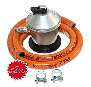 S&M Kit Regulador de Gas Butano/Propano con Válvula de Seguridad + Tubo Goma 1,5 M + 2 Abrazaderas, Gris/Naranja, Estándar