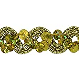 Expo International Reba Ric Rac Sequin Braid Trim Embellishment, 20-Yard, Gold